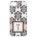 Monogrammed Pink Black Damask iPhone 5 Covers