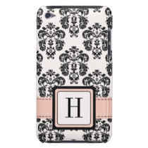 Monogrammed Pink Black Damask iPod Touch 4 Case-Ma Barely There iPod Cover