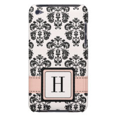 Monogrammed Pink Black Damask Ipod Touch 4 Case-ma Barely There Ipod Cover at Zazzle