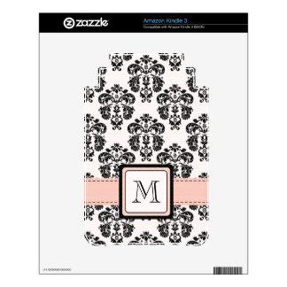 Monogrammed Pink Black Damask Kindle 3 Skin