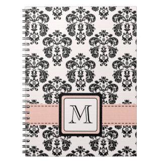 Monogrammed Pink Black Damask Spiral Notebook Jour