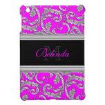 Monogrammed pink black floral pattern iPad mini case