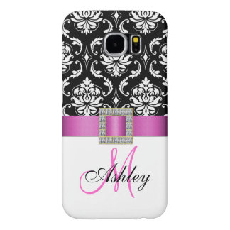 Monogrammed Pink Black White Damask Ribbon Samsung Galaxy S6 Case