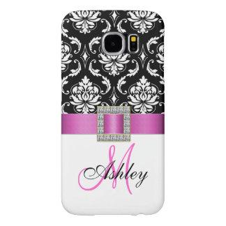 Monogrammed Pink Black White Damask Ribbon Samsung Galaxy S6 Cases