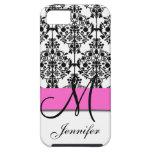Monogrammed Pink Black White Floral Damask iPhone 5 Cases