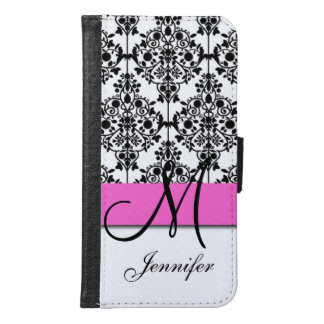 Monogrammed Pink Black White Floral Damask Samsung Galaxy S6 Wallet Case