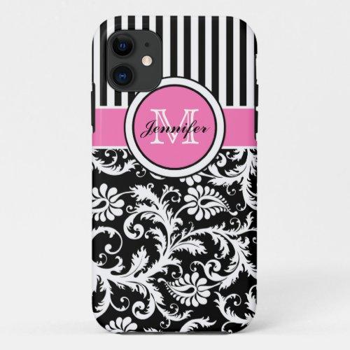 Monogrammed Pink, Black, White Striped Damask Phone Case