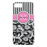 Monogrammed Pink, Black, White Striped Damask iPhone 7 Case