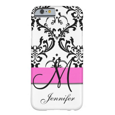 Monogrammed Pink Black White Swirls Damask Barely There iPhone 6 Case