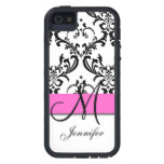 Monogrammed Pink Black White Swirls Damask Case For The iPhone 5