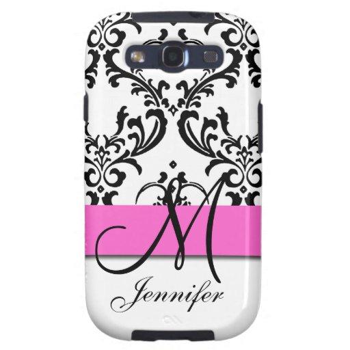 Monogrammed Pink Black White Swirls Damask Samsung Galaxy S3 Cases