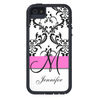 Monogrammed Pink Black White Swirls Damask Case For iPhone SE/5/5s