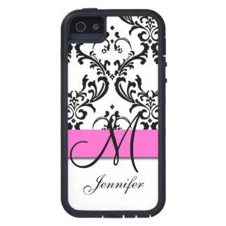 Monogrammed Pink Black White Swirls Damask Case For iPhone SE/5/5s