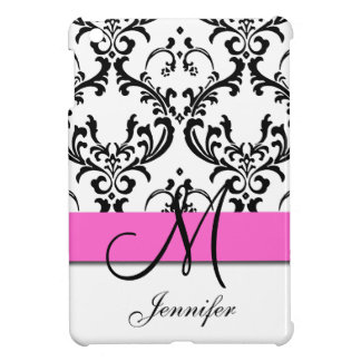 Monogrammed Pink Black White Swirls Damask Cover For The iPad Mini