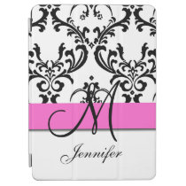 Monogrammed Pink Black White Swirls Damask iPad Air Cover