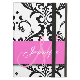 Monogrammed Pink Black White Swirls Damask iPad Cover