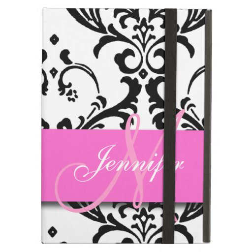 Monogrammed Pink Black White Swirls Damask iPad Cover