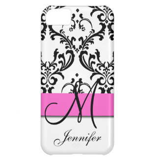 Monogrammed Pink Black White Swirls Damask iPhone 5C Cases