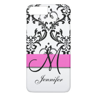 Monogrammed Pink Black White Swirls Damask iPhone 8 Plus/7 Plus Case