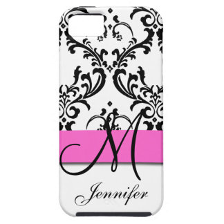 Monogrammed Pink Black White Swirls Damask iPhone SE/5/5s Case
