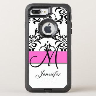 Monogrammed Pink Black White Swirls Damask OtterBox Defender iPhone 7 Plus Case