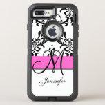 Monogrammed Pink Black White Swirls Damask Otterbox Defender Iphone 8 Plus/7 Plus Case at Zazzle