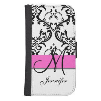 Monogrammed Pink Black White Swirls Damask Phone Wallet