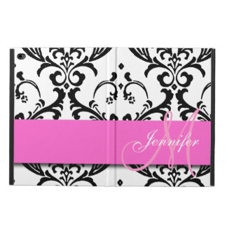 Monogrammed Pink Black White Swirls Damask Powis iPad Air 2 Case