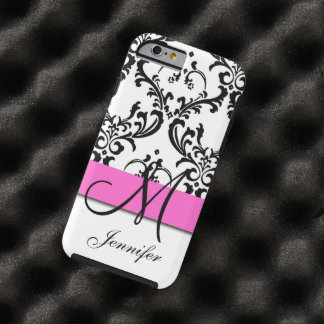 Monogrammed Pink Black White Swirls Damask Tough iPhone 6 Case