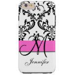 Monogrammed Pink Black White Swirls Damask Tough iPhone 6 Plus Case