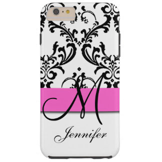 Monogrammed Pink Black White Swirls Damask Tough iPhone 6 Plus Case