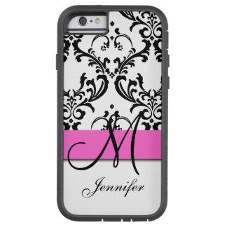 Monogrammed Pink Black White Swirls Damask Tough Xtreme iPhone 6 Case