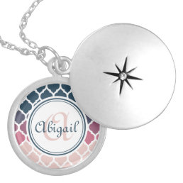 Monogrammed Pink Blue Moroccan Lattice Pattern Locket Necklace