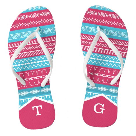 Monogrammed pink blue sewing stitches white strap flip flops