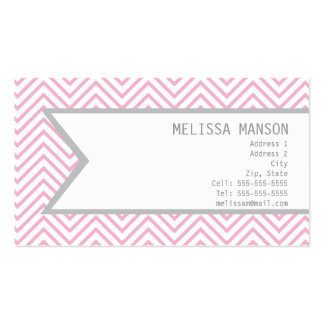 Monogrammed Pink Chevron Calling Card Business Card Templates