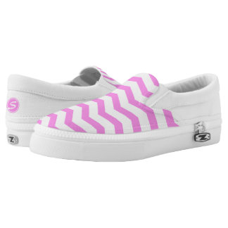 Monogrammed Pink Chevron Printed Shoes