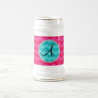 Monogrammed pink chevrons turquoise circle mug