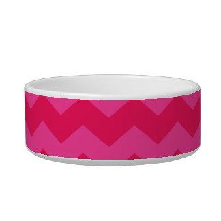 Monogrammed pink chevrons turquoise circle pet water bowls