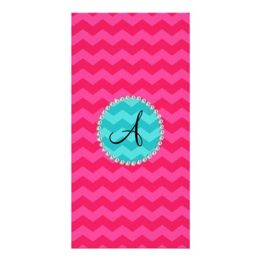 Monogrammed pink chevrons turquoise circle photo greeting card