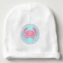 Monogrammed Pink Crab   Quatrefoil Baby Beanie