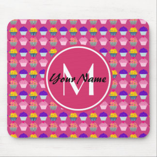 Monogrammed Pink Cupcakes, Personalized Name Mouse Pad