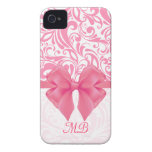 Monogrammed Pink Damask and Pink Ribbon iPhone 4 Covers