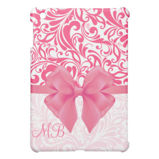 Monogrammed Pink Damask and Pink Ribbon iPad Mini Cases