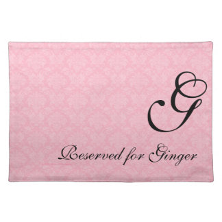 Monogrammed Pink Damask Dog Personalized Placemat Cloth Place Mat