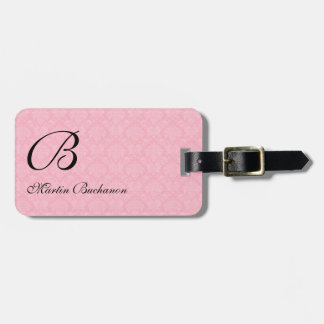 Monogrammed Pink Damask for Travelers Bag Tag