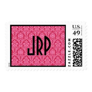 Monogrammed Pink Damask Postage
