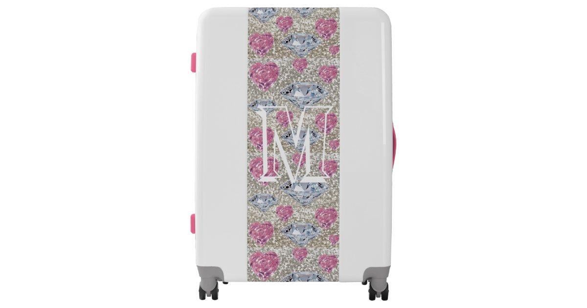 Monogrammed Pink Diamond Gem Glitter Suitcase Zazzle Com