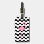 Monogrammed Pink Flamingo + Black Chevron Tag For Luggage