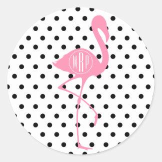 Monogrammed Pink Flamingo + Black Polka Dot Classic Round Sticker