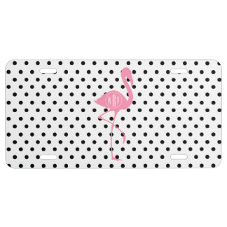 Monogrammed Pink Flamingo + Black Polka Dot License Plate
